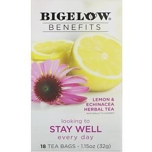 Bigelow, Benefits, Хорошее самочувствие, травяной чай с лимоном и эхинацеей, 18 чайных пак.
