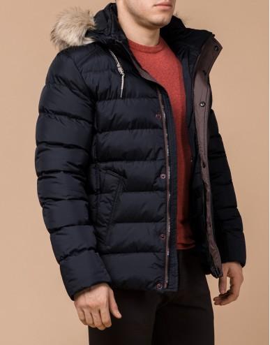 Сине-черная зимняя куртка стильного дизайна модель 27715