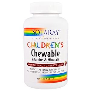 Solaray, Детские жевательные витамины и минералы, натуральный вкус черной вишни, 120 жевательных витаминов