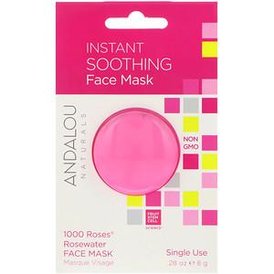 Andalou Naturals, Мгновенное успокоение, маска лица с розовой водой из 1000 роз, 8 гр.