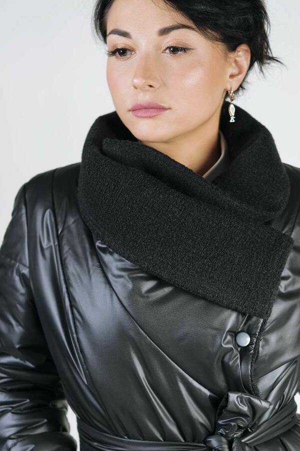 Пальто-плащ длинный трапеция черный