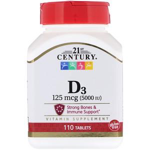 21st Century, Vitamin D3, 5000 IU, 110 Tab