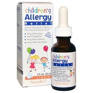 NatraBio, Средство против аллергии для детей, формула без спирта, жидкая форма, (30 мл)