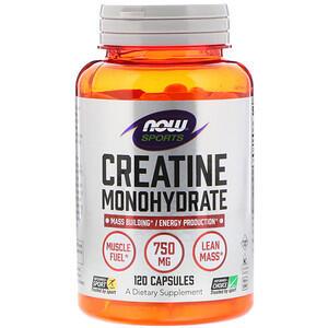 Now Foods, Sports, Моногидрат креатина, 750 мг, 120 кап