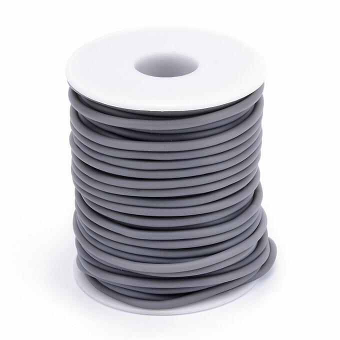 Шнур резиновый полый, 3мм, серый, 1 метр