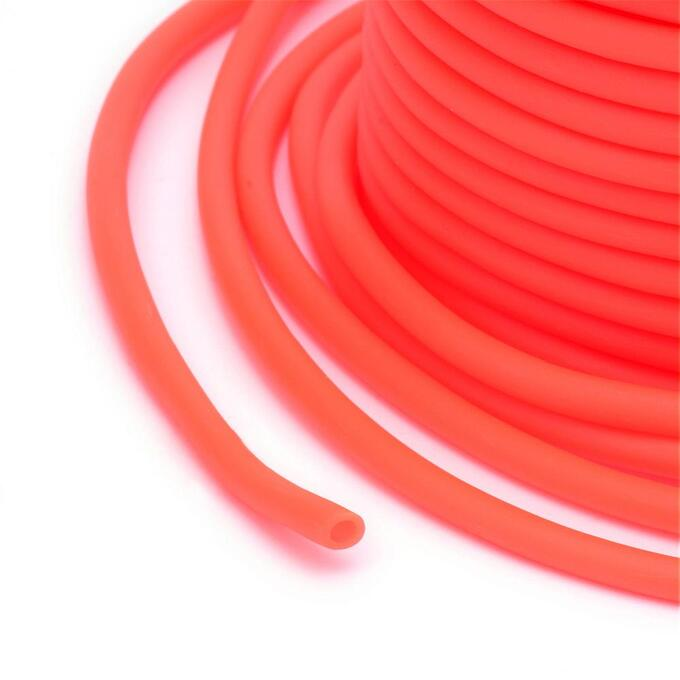 Шнур резиновый полый, 4мм, неоновый кораллово-оранжевый, 14 метров, катушка