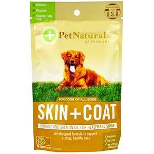 Pet Naturals of Vermont, Кожа + мех, для собак, 30 жевательных таблеток (60 г)