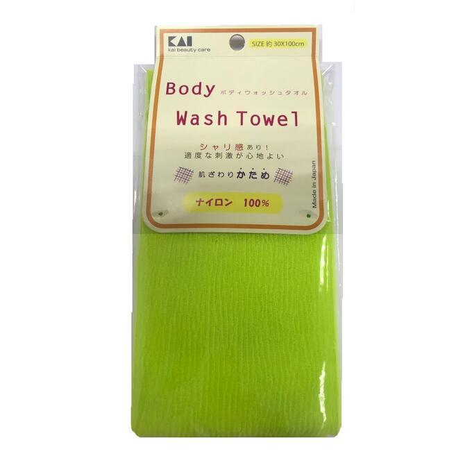Мочалка для тела (с плотным плетением жесткая), 30 см х 100 см. Цвет: Лайм