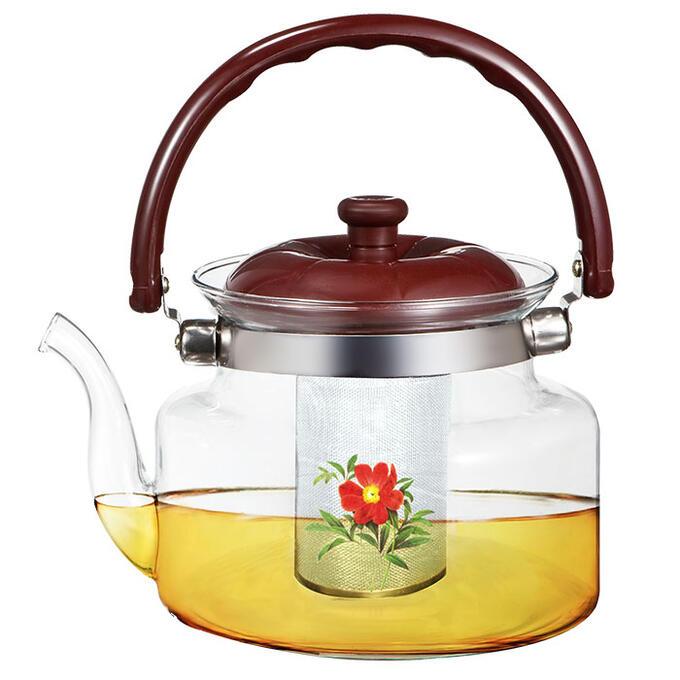 """Чайник заварочный 1200мл BE-5582/3 """"Шиповник"""" с металлическим фильтром"""