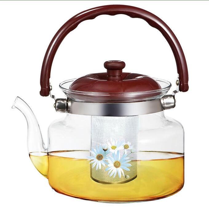 """Чайник заварочный 1200мл BE-5586/4 """"Ромашки"""" с металлическим фильтром"""