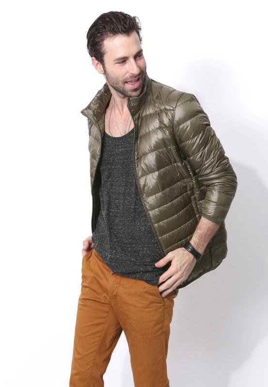 Ультралегкая мужская куртка, цвет хаки зеленый
