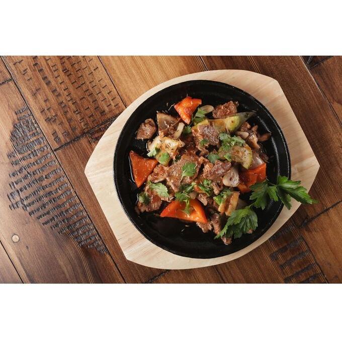 Сковорода «Круг», d=24,8 см, на деревянной подставке