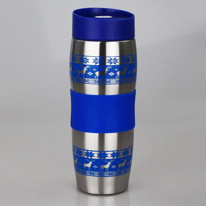 """Термокружка вакуумная 400мл Alpenkok AK-04023A """"Олени синие"""""""