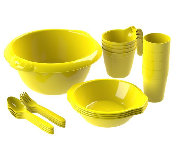 Набор посуды для пикника №1 «Праздничный» (4 персоны, 21 предмет)