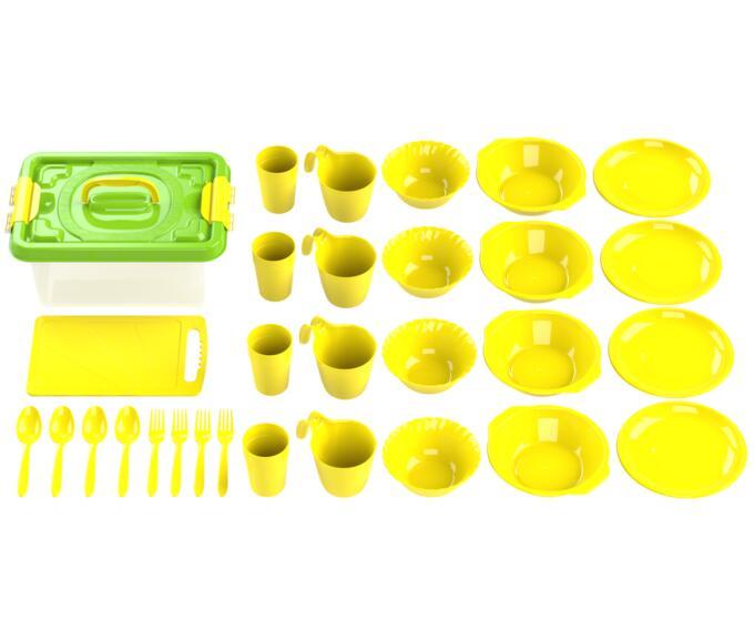 Набор посуды для пикника №4 «Дружная семья» (4 персоны, 30 предметов) (Бокс 8л, доска разделочная, 4 тарелки суповых 0,7л, 4 тар