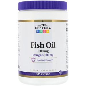 21st Century, Рыбий жир, омега-3, 1000 мг, 300 мягких таб