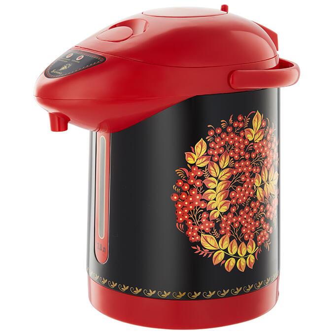 """Чайник-термос электрический 820 Вт, 2,8 л ВАСИЛИСА ТП6-820 """"Рябина"""" черный/красный"""