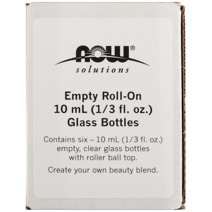 Now Foods, Пустые 10 мл (1/3 ж. унц.) стеклянные бутылочки с роликом, 6 бутылочек по 1/3 ж. унц. (10 мл)