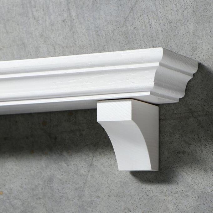 """Полка интерьерная из массива ясеня """"Классическая"""", 50 х 15 см, цвет белый"""