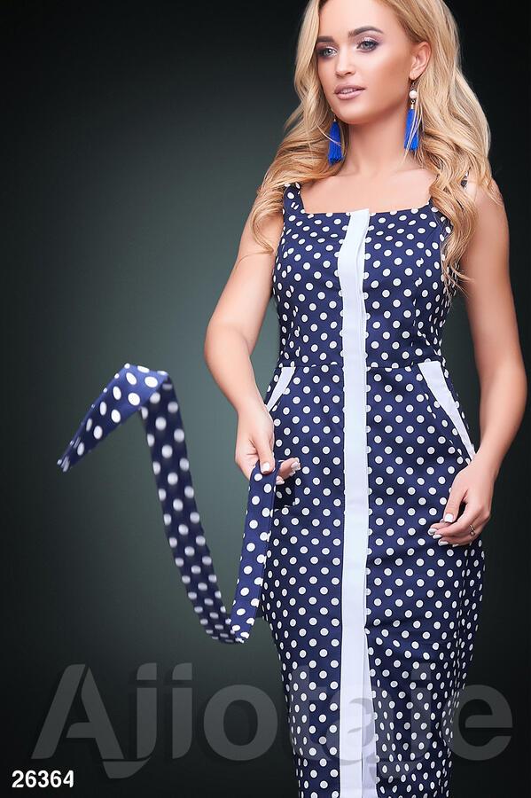 Сарафан темно-синего цвета в принт полька