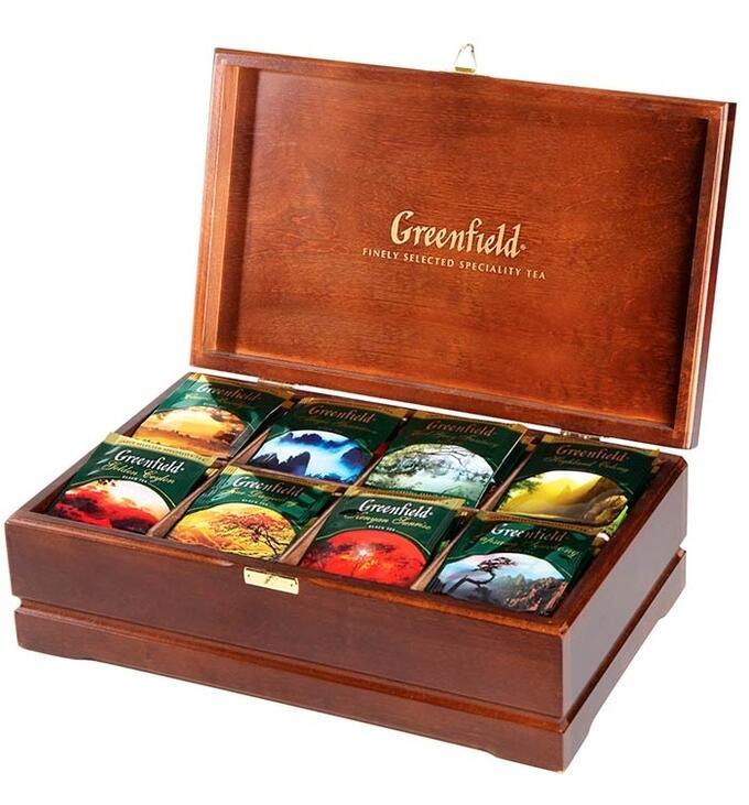 Набор чая Greenfield 8 сортов 96 пакетиков в деревянной шкатулке