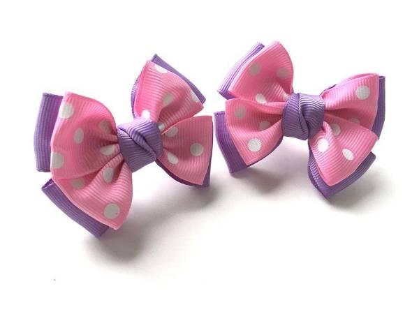 Бантик для волос Малышка сиреневый с розовым в белый горох