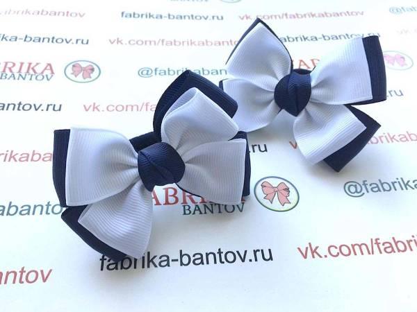 Бантик для волос Таисия синий с белым