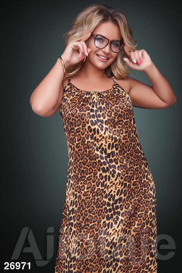 Сарафан макси в леопардовый принт