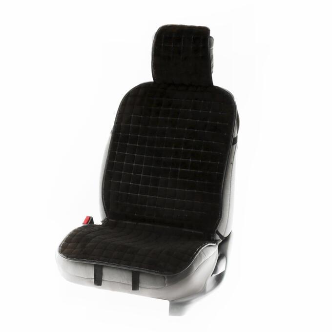 Накидка на переднее сиденье автомобиля 131х48 см, искусственный мех, черный