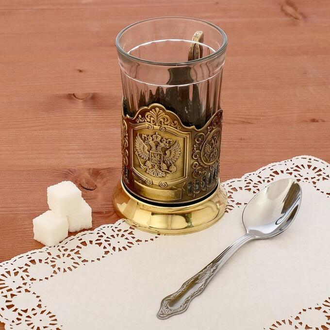 Подстаканник «Герб РФ», стакан d=6,1 см, латунный
