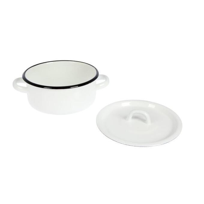Кастрюля, 1,5 л, металлическая крышка, цвет белый