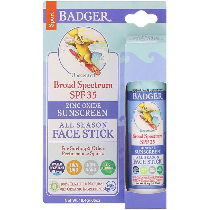 Badger Company, Стик для лица для всех времен года, спортивное солнцезащитное средство, SPF 35, без запаха, 18.4 г
