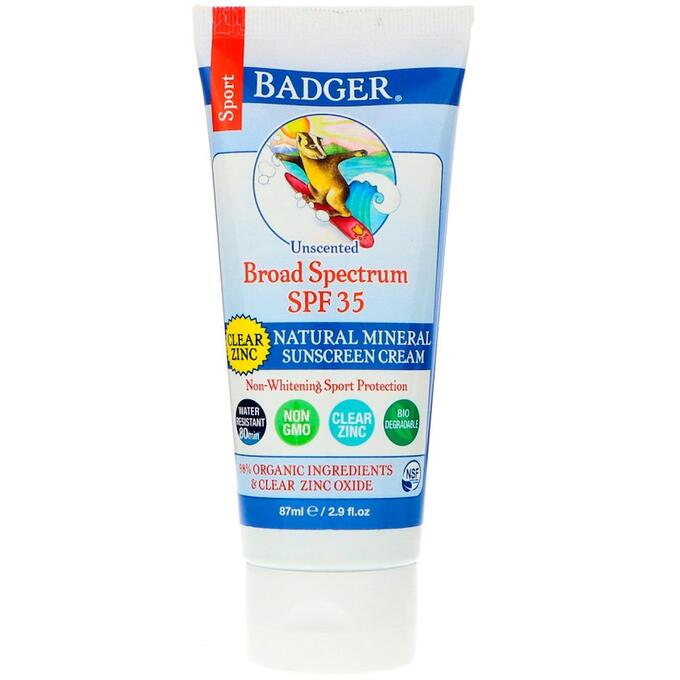 Badger Company, Спорт, натуральный минеральный солнцезащитный крем, прозрачный цинк, фактор защиты SPF 35, без запаха, 87 мл