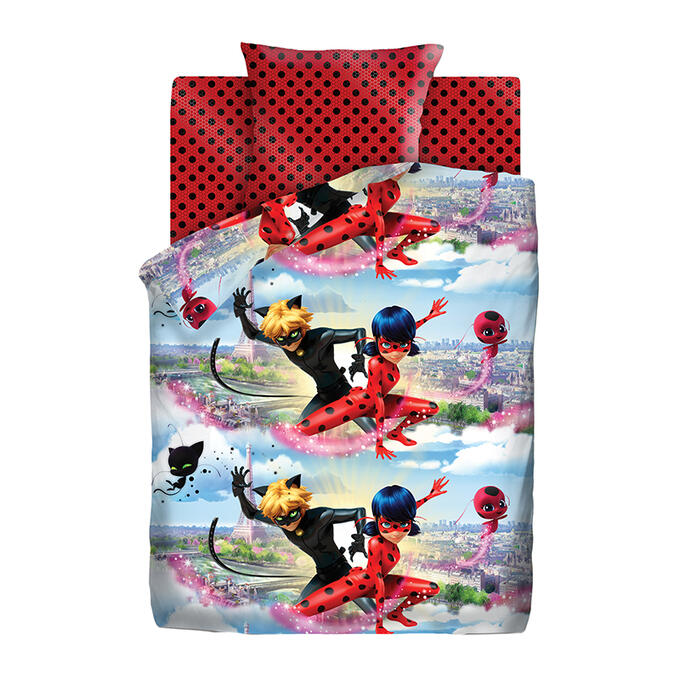 Комплект постельного белья  LadyBug 16022-1/16023-1 Леди Баг и Супер Кот 1,5 сп.