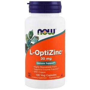 Now Foods, L-OptiZinc, 30 мг, 100 растительных кап
