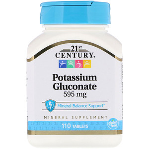 21st Century, Глюконат калия, 595 мг, 110 таб