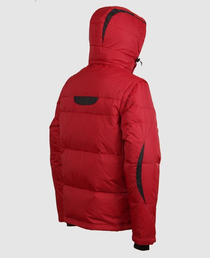 . Серый; Красный; Бежевый;    Пуховик мужской 57250A Четыре наружных кармана, пять внутренних карманов, в том числе карман для телефона, отстегивающийся капюшон, регулируемая кулиса по низу куртки, р