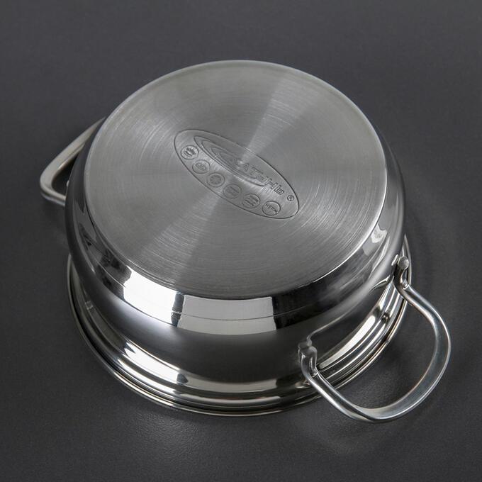 Кастрюля «Лира», 1,5 л, d=16 см, стеклянная крышка, капсульное дно, цвет хромированный
