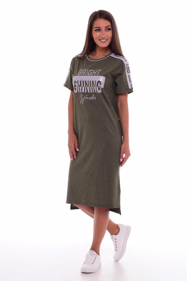 Платье женское 4-61 (хаки-меланж)