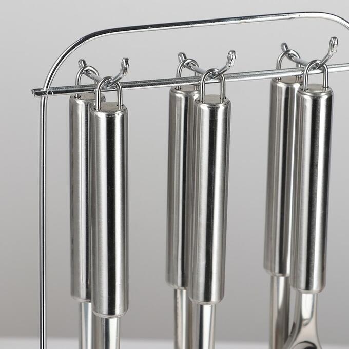 Набор кухонных принадлежностей «Металлик», 6 предметов, на подставке