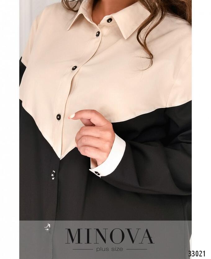 Рубашка №1826-1-беж-черный
