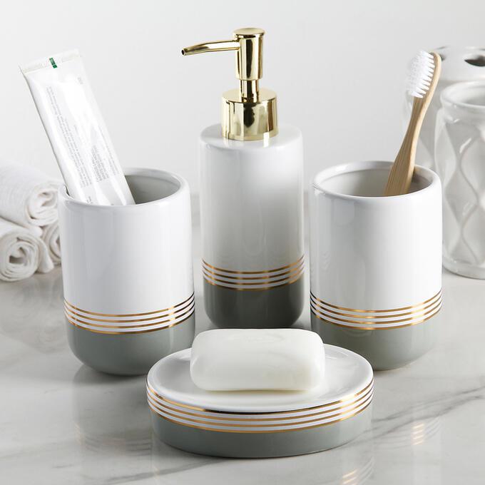 Набор аксессуаров для ванной комнаты «Лили», 4 предмета (дозатор 300 мл, мыльница, 2 стакана), цвет бело-серый