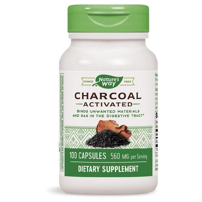 Nature's Way, Древесный уголь (Charcoal), активированный, 280 мг, 100 кап.