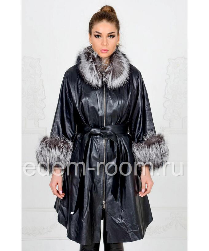 Чёрный кожаный плащ украшенный мехомАртикул: FL-1173-CH