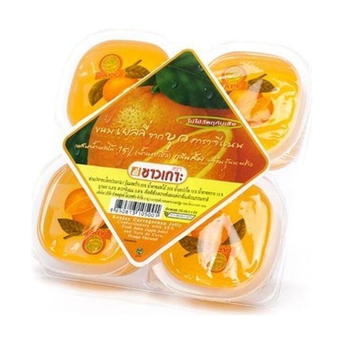 Конжаковое желе с яблочным соком со вкусом апельсин, 4 порции, Chaokoh, 4х115г