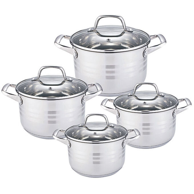 Набор посуды 8 предметов BE-622/8 со стеклянными крышками