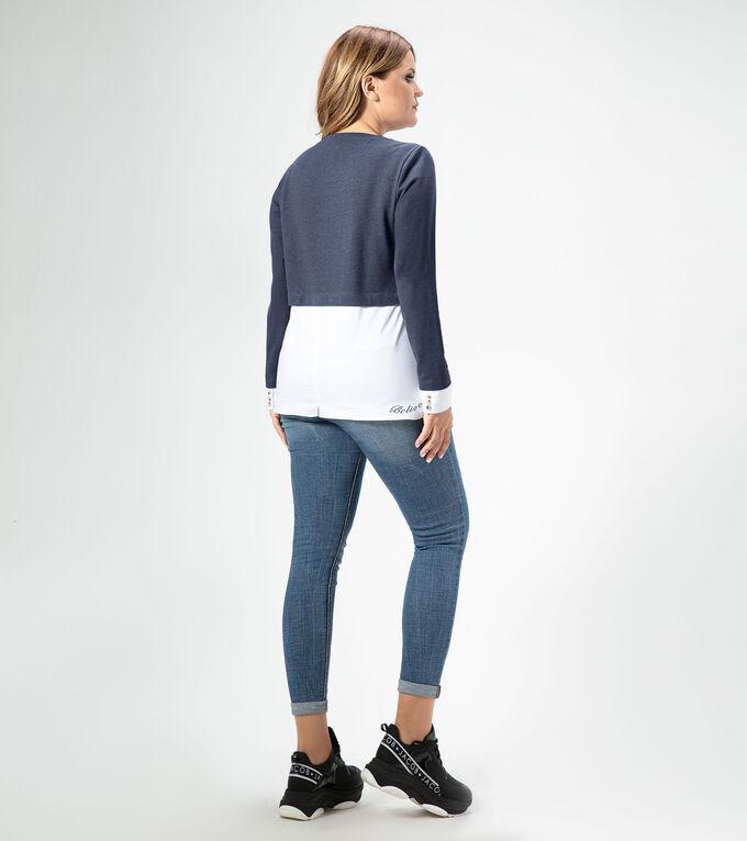 Блузка Хлопок/cotton 82%; полиэстер/polyester 17%; эластан /elastane1%. Рост: 164 см. Стильный молодежный джемпер идеально подойдет тем, кто любит одеваться в стиле «кэжуал». Джемпер идеально сочетает