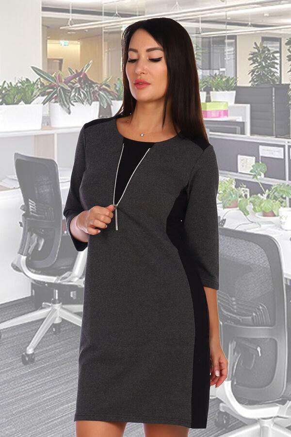 Платье Бренд: Натали. Ткань: футер 2-х нитка  Состав: 72% хлопок, 23% п/э 5%лайкра  Платье приталенного силуэта, рукав 3/4. Горловина декорирована функциональной молнией.