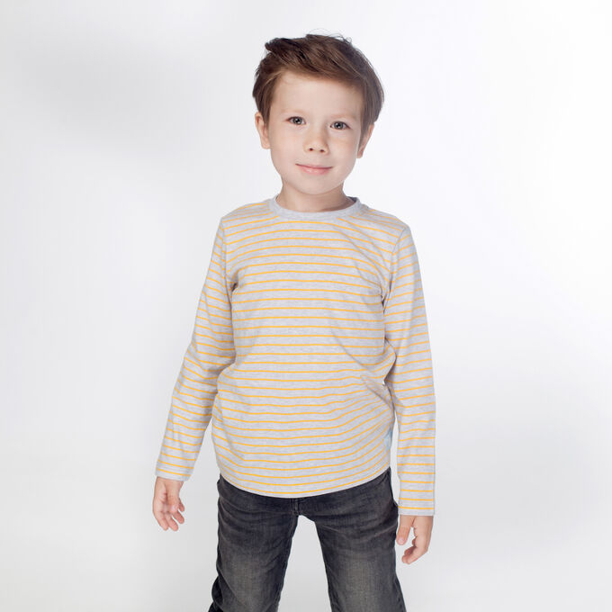 Джемпер для мальчика, серый меланж полоска