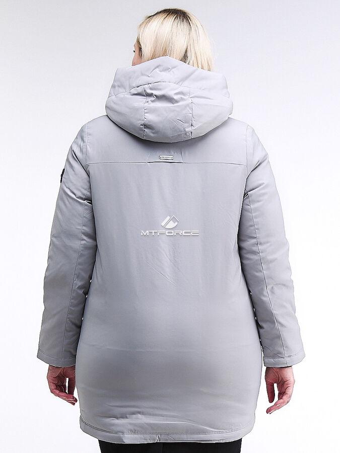 Женская зимняя классика куртка большого размера серого цвета 86-801_20Sr